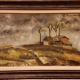 TABLOU, ILFOVEANU RUXANDRA, DEALURI CU CASA, U/P 27 X 46, 1989 - Pictor roman