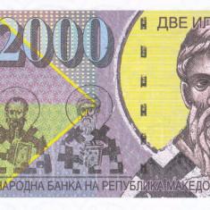 Bancnota Macedonia 2.000 Dinari 2013 - SPECIMEN ( proba pe hartie cu filigran ) - bancnota europa