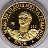 Medalie placata cu aur imparatul Traian si regele Decebal - Medalii Romania