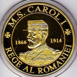Medalie placata cu aur Regalitate regele Carol I.si regina Elisabeta - Medalii Romania