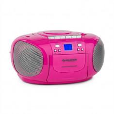 Auna BoomGirl Boom Box Ghetto Blaster FM și CD / MP3 player portabil ecran LCD casetofon rotund roz