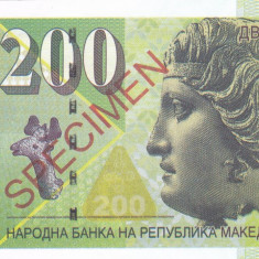 Bancnota Macedonia 200 Dinari 2013 - SPECIMEN ( proba pe hartie cu filigran )