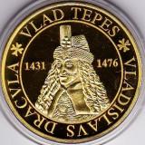 Medalie placata cu aur Vlad Tepes si stema Transilvaniei - Medalii Romania