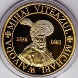 Medalie placata cu aur Mihai Viteazul si poarta cetatii Alba Carolina - Medalii Romania