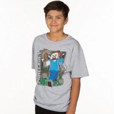 Tricou -Minecraft 7-11 ani T-shirt STEVE Vintage - ORIGINAL JINX !!, Marime: YM, YL, Culoare: Din imagine, Unisex