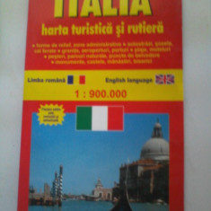 Italia. Harta turistica si rutiera 1:900.000