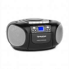 Auna Boom Boy Boom Box Ghetto Blaster FM și CD / MP3 player portabil ecran LCD casetofon rotund negru