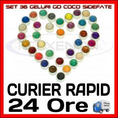 KIT SET 36 MODELE GEL GELURI GD COCO SIDEFATE PT LAMPA UV COLOR COLORATE 5ML