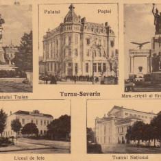 TURNU SEVERIN PALATUL POSTEI LICEUL DE FETE TEATRUL NATIONAL CIRCULATA 1937 - Carte Postala Oltenia dupa 1918, Printata
