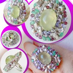 Inel Opulent, Unic, Editie Limitata cu Prehnit, Smarald, Tanzanit, Granat, Ag925 - Inel argint