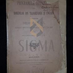PROGRAMELE NATIONALE ALE ROMANILOR DIN TRANSILVANIA SI UNGARIA INSOTIE DE MEMORANDUL DE LA 1892, 1894 - Carte de colectie