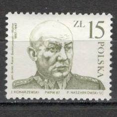 Polonia.1987 40 ani moarte K.Swierczewski-Walter-General SP.371 - Timbre straine, Nestampilat