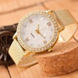 Ceas dama elegant fashion luxury style bratara metalica slim gold cristale, Quartz