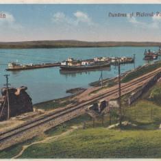 TURNU SEVERIN DUNAREA SI PICIORUL PODULUI TRAIAN - Carte Postala Oltenia dupa 1918, Necirculata, Printata