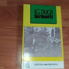 MEMORII-I.G.DUCA - Istorie