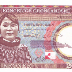 Bancnota Groenlanda 20 Kroner 2017 - SPECIMEN ( hartie cu filigran ) - bancnota europa