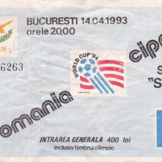 Bilet meci fotbal ROMANIA - CIPRU 14.04.1993