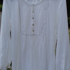 Bluza alba din bumbac H&M mas.L - Bluza dama H&m, Maneca 3/4, Casual