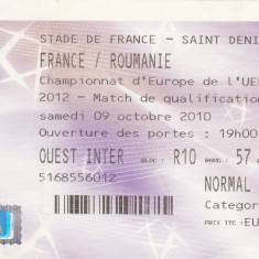 Bilet meci fotbal FRANTA - ROMANIA (calificari Campionatul European 2012)