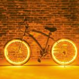 Kit luminos tuning si personalizare roti janta sau jante bicicleta 4 M Galben - Accesoriu Bicicleta, Faruri si semnalizatoare