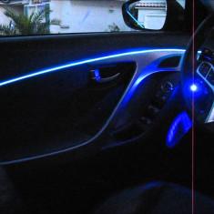 Fir cu lumina ambientala auto decorativ luminos neon flexibil 5M Albastru - Lumini interior auto, Universal