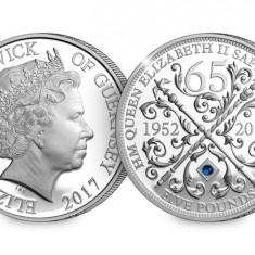 Anglia/Marea Britanie Regina Elisabeta II Sapphire Jubileu Moneda 5 £ Proof