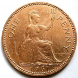 MAREA BRITANIE, 1 PENNY 1961, URIASA 31mm., Europa, Cupru (arama)
