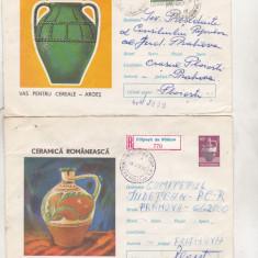 Bnk ip Lot 9 intreguri postale 1973 - circulate - Ceramica romanesca, Dupa 1950