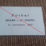 Bilet Invitatie DINAMO - UNIVERSITATEA CRAIOVA 1987-1988
