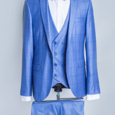 Costum carouri albastru, bleu barbati Cesaro 2017 model - Sacou barbati, Marime: 48