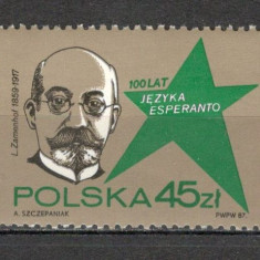 Polonia.1987 100 ani limba esperanto SP.379 - Timbre straine, Nestampilat