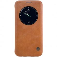 Husa Nillkin Qin Samsung Galaxy S7 Edge - BONUS FOLIE ECRAN, Maro, Piele