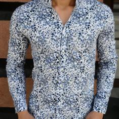 Camasa imprimeu floral barbati - elastica - tip zara  - bleumarin - slim fit