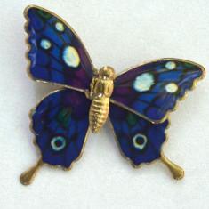 Brosa emailata, fluture compus din doua parti mobile ., Alama