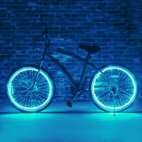 Kit luminos tuning si personalizare roti janta sau jante bicicleta 4 M Cyan, Faruri si semnalizatoare