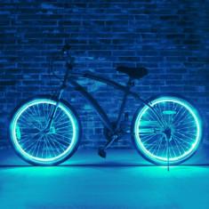 Kit luminos tuning si personalizare roti janta sau jante bicicleta 4 M Cyan - Accesoriu Bicicleta, Faruri si semnalizatoare