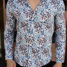 Camasa imprimeu floral barbati - elastica - tip zara  - albastru - slim fit