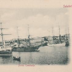 SALUTARI DIN ROMANIA CONSTANTA PORTUL CONSTANTA CLASICA - Carte Postala Dobrogea pana la 1904, Necirculata, Printata