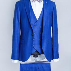 Costum carouri albastru barbati Marcus 2017 model - Sacou barbati, Marime: 48