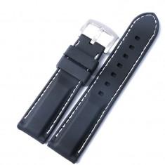 Curea Ceas Silicon Negru Cusatura Alba 20mm 22mm WZ727 - Curea ceas cauciuc