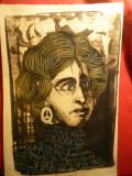 """Portret -tehnica mixta -M-me Rimbaud -mama poetului A.Rimbaud -""""bouche d'ombre"""""""
