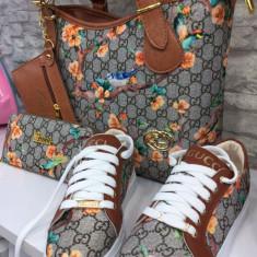 Set geanta+tenisi+portofel Gucci - Geanta Dama Gucci, Culoare: Maro, Marime: Medie
