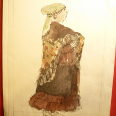 Acuarela - Tiganca - autor pictor-scenograf Constantin Russu ,dim.= 20 x 30 cm