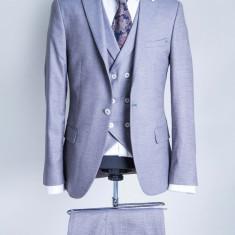 Costum gri barbati PerfectFit New Collection - Sacou barbati, Marime: 48