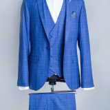 Costum carouri albastru barbati Vega 2017 model - Sacou barbati, Marime: 48