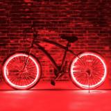 Kit luminos tuning si personalizare roti janta sau jante bicicleta 4 M Rosu, Faruri si semnalizatoare
