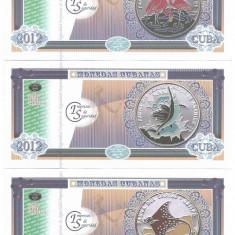 !!! CUBA - SET 6 BANCNOTE DE PREZENTARE FAUNA DIN CARAIBE I 2012 - UNC - bancnota america