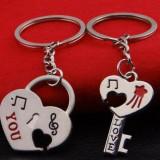 Set Breloc Chei Pentru Cuplu / Indragostiti - LOVE YOU - Set 2 Bucati - Model 3 - Breloc Dama