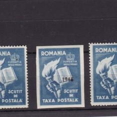 ROMANIA 1948 FUNDATIA REGELE MIHAI SCUTIT TAXA POSTALA 3 MARCI SUPRATIPAR 1948 - Timbre Romania, Nestampilat