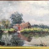 Pictura in ulei pe carton, Vasile Pavlov - Peisaj in delta . - Pictor roman, Peisaje, Realism